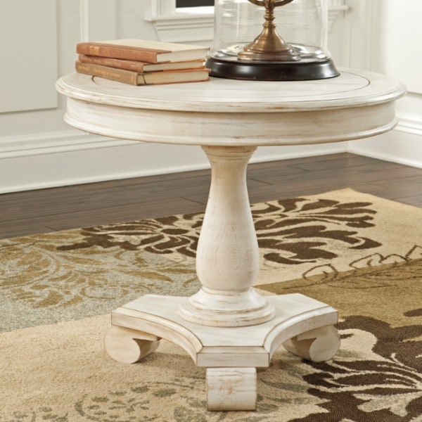 mirimyn white round accent table louisville overstock warehouse furniture and mattress store. Black Bedroom Furniture Sets. Home Design Ideas