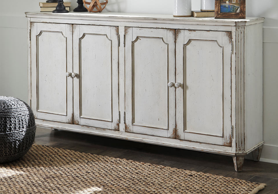 Mirimyn Antique White Door Accent Cabinet Louisville