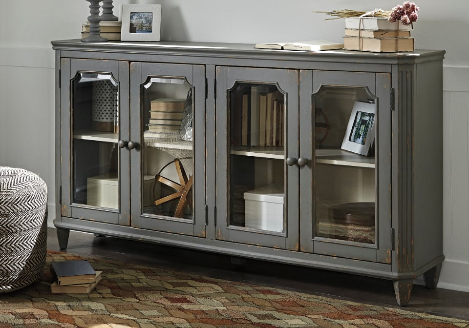 Mirimyn Antique Gray Door Accent Cabinet Louisville