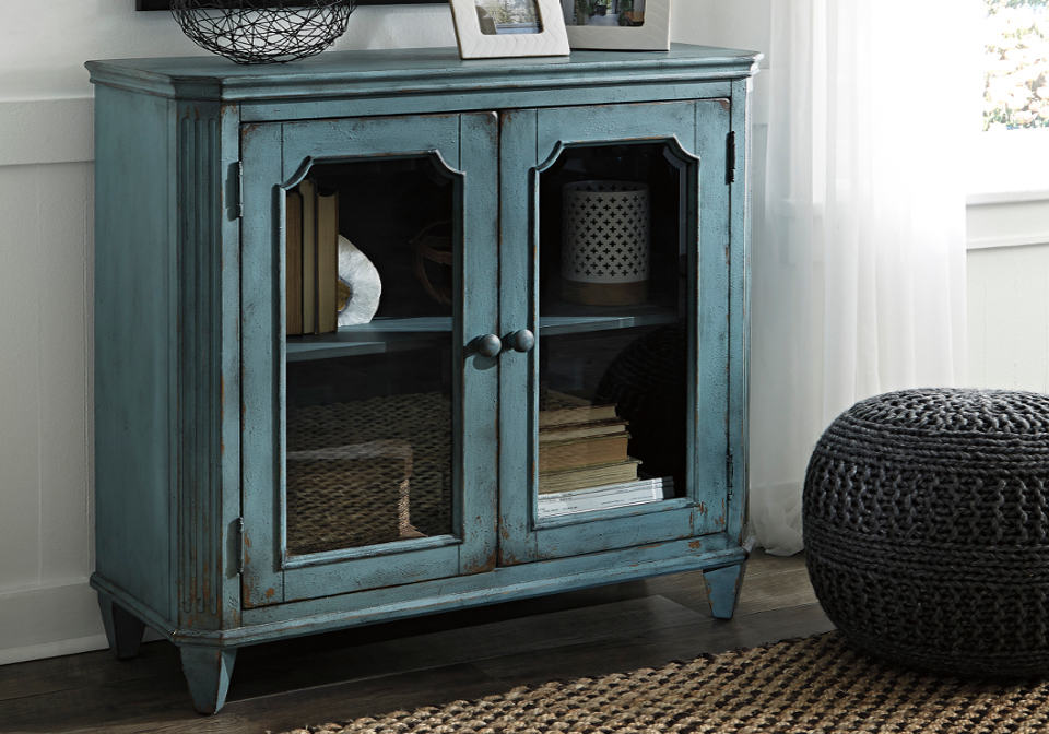 Mirimyn Antique Teal Door Accent Cabinet Louisville
