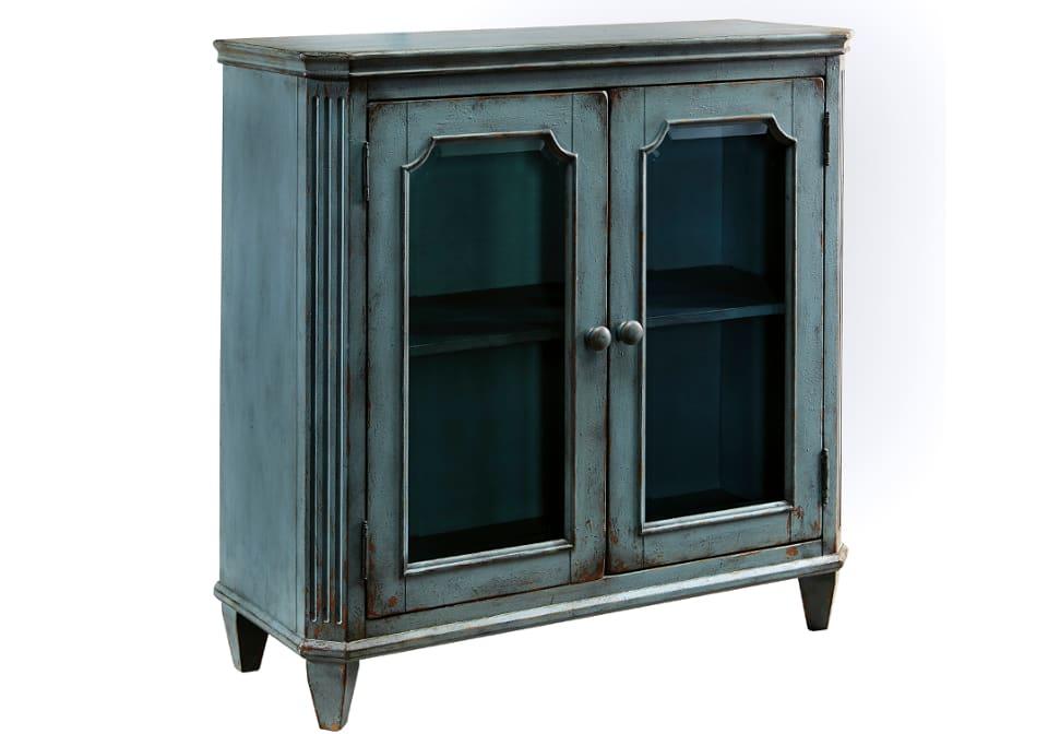 Mirimyn Antique Teal Door Accent Cabinet Louisville