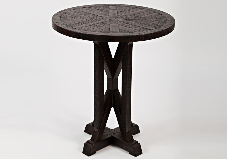 pacific heights round pedestal end table chestnut louisville overstock warehouse. Black Bedroom Furniture Sets. Home Design Ideas