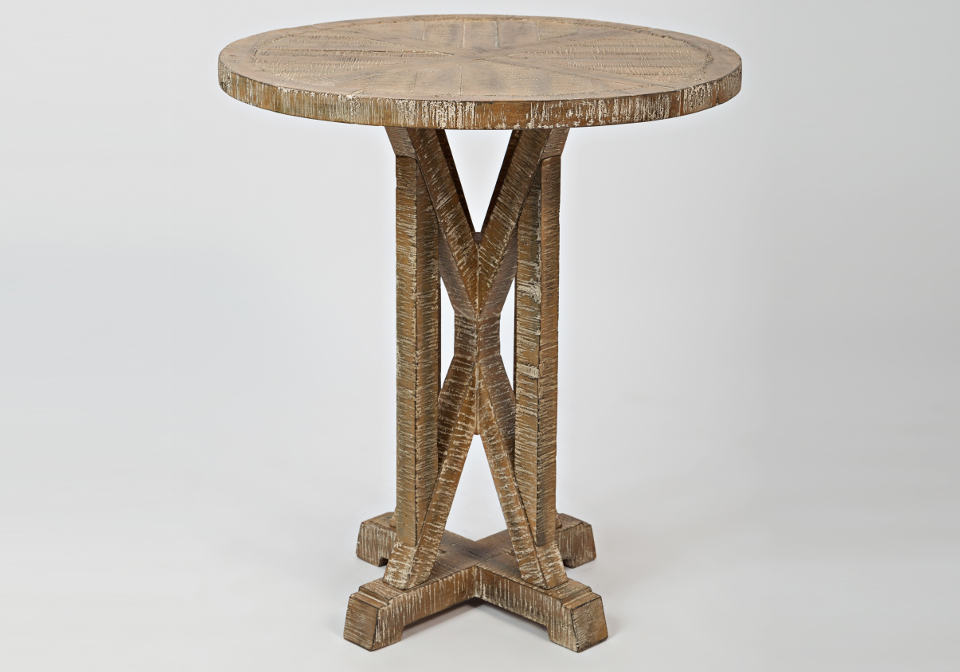 pacific heights round pedestal end table bisque louisville overstock warehouse. Black Bedroom Furniture Sets. Home Design Ideas