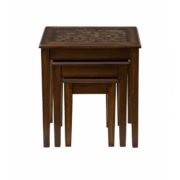Attractive Baroque Brown Nesting Tables With Mosaic Tile Inlay
