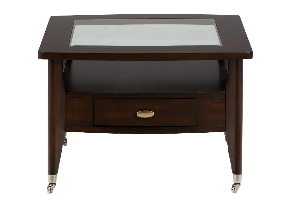 Chrome Castered Square Cocktail Table Withpullthru Drawer