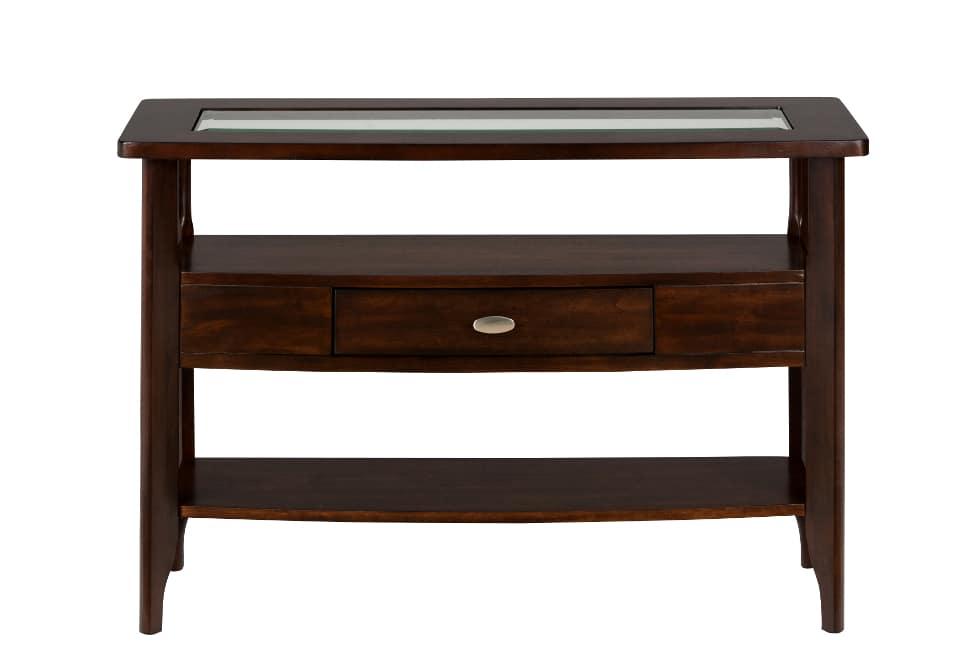 Sofa table withdrawer 2 shelves glass insert for Sofa table glass