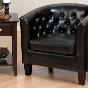 JF-GIANNI-CH-CHESTNUT Club Chair With Tufted Back Chestnut Brown Bonded Leather Webbed Seat And Dark Brown Legs1