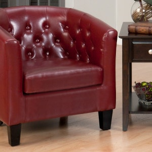 JF-GIANNI-CH-RED Club Chair With Tufted Back Red Bonded Leather Webbed Seat And Dark Brown Legs1