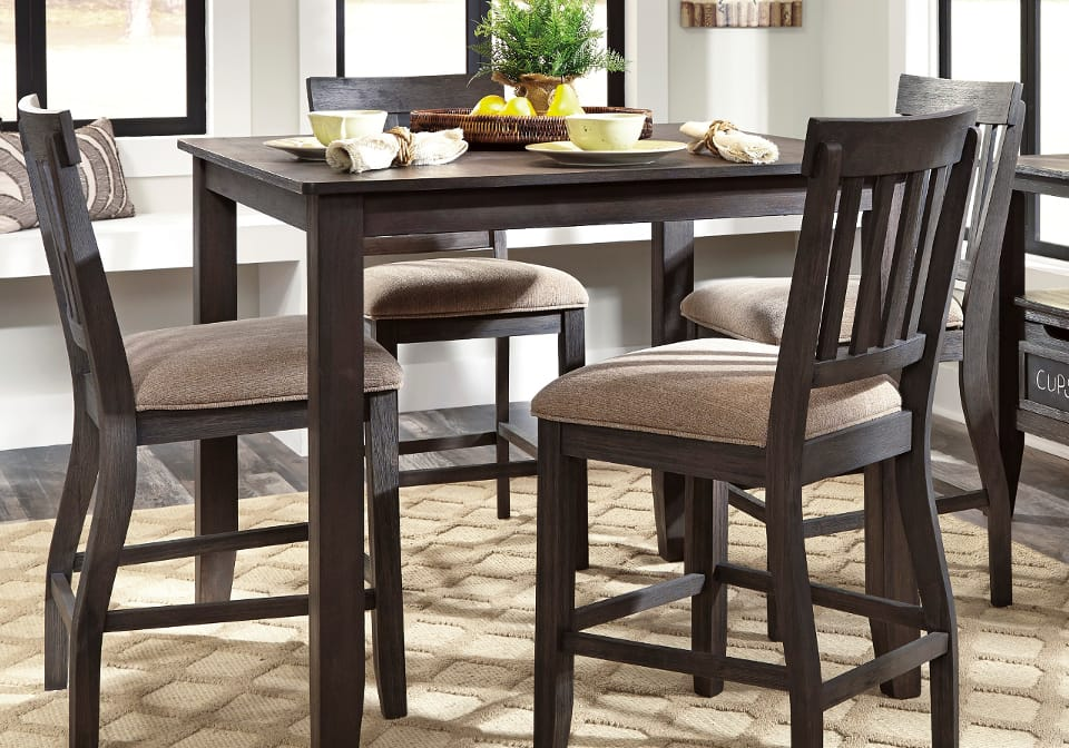 Dresbar Counter Height Dining Set With 4 Chairs