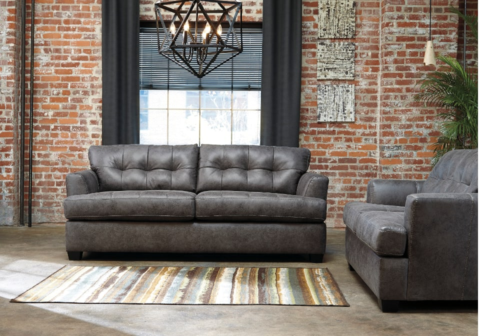 Inmon charcoal sofa set louisville overstock warehouse for Charcoal sofa living room