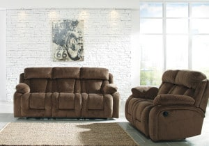Stricklin Chocolate Reclining Power Sofa Set