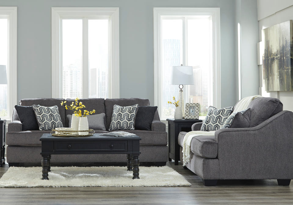 Gilmer Gunmetal Sofa Set Louisville Overstock Warehouse