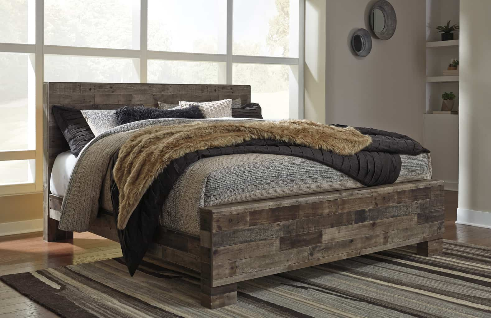 Derekson Multi Gray King Panel Bed Louisville Overstock