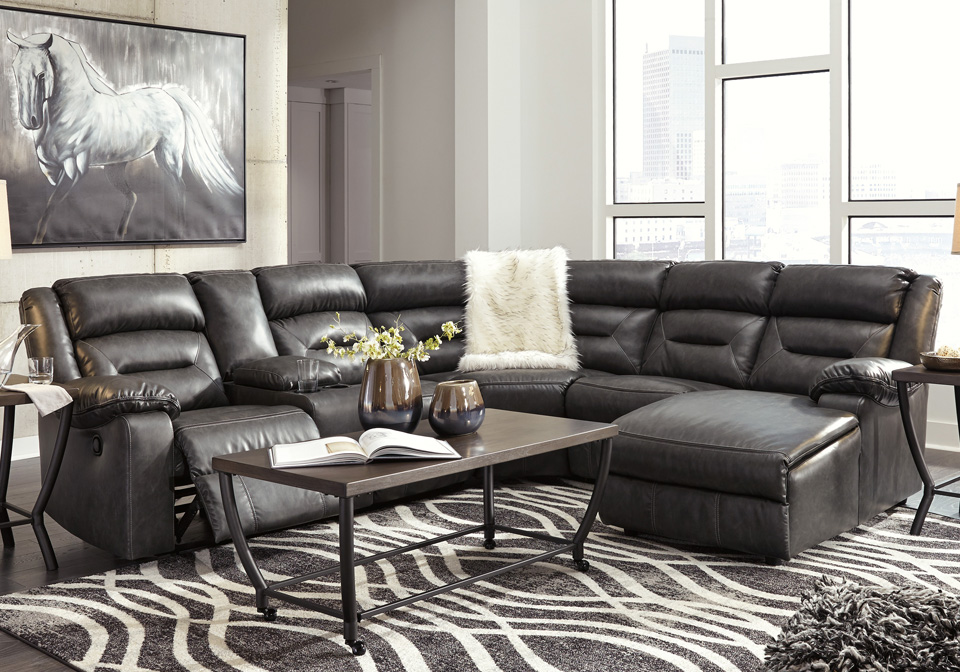 Coahoma Dark Gray 6pc Raf Reclining Chaise Sectional W Console