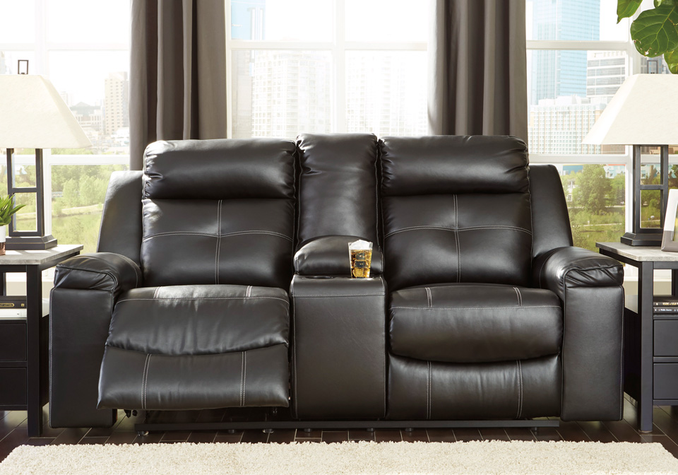 Kempten Black Reclining Loveseat W Console Louisville