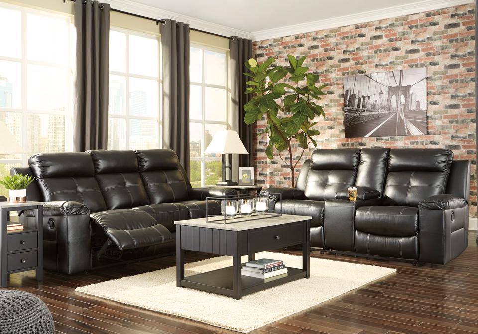 Kempten Black Reclining Sofa Set Louisville Overstock Warehouse