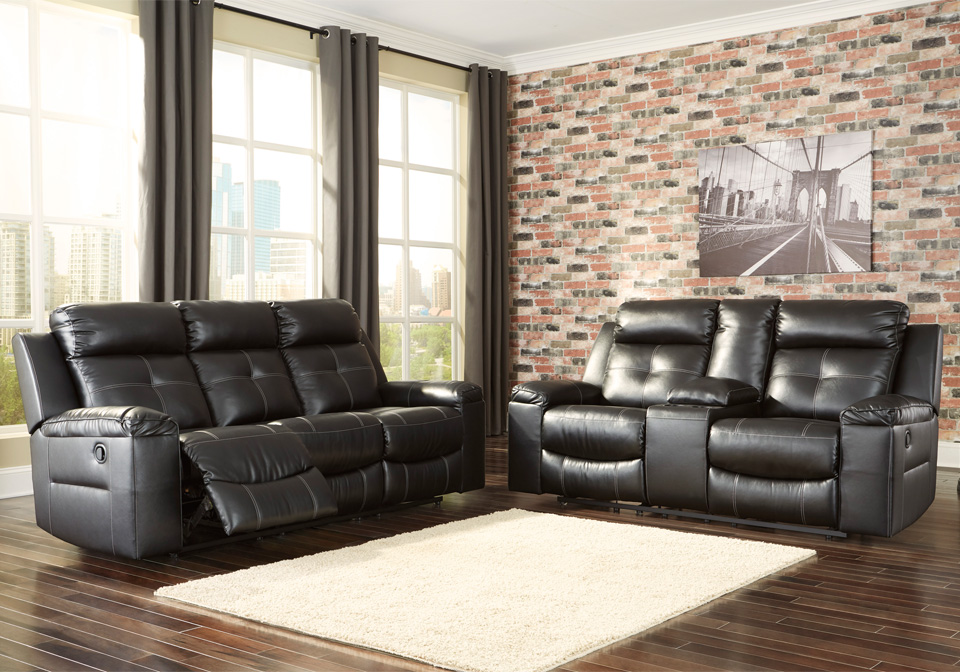 Kempten Black Reclining Sofa Set
