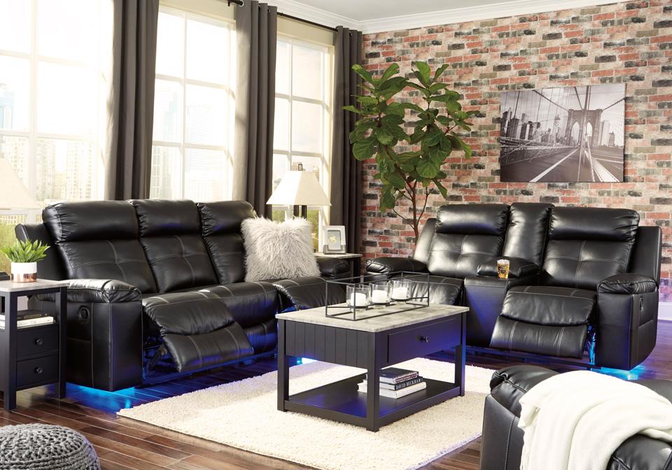 Kempten Black Reclining Sofa Set | Louisville Overstock Warehouse