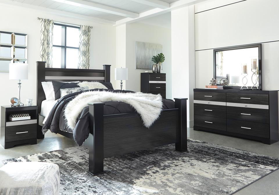 Starberry Black King Poster Bedroom Set