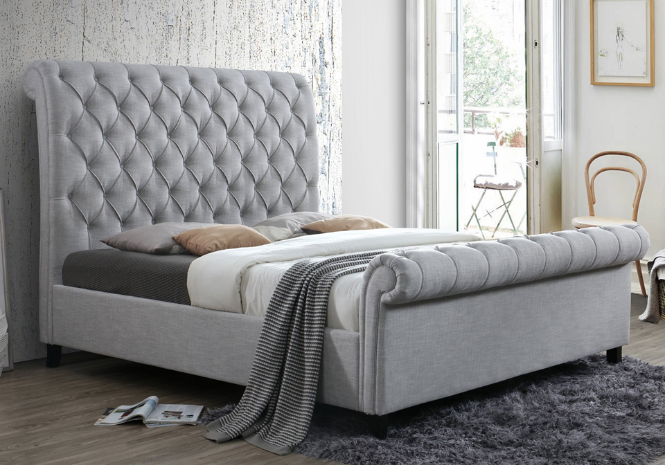 Kate Gray Upholstered King Sleigh Bed Louisville
