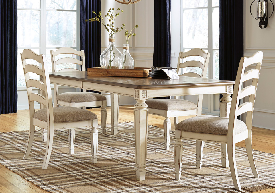 Realyn Chipped White 5pc Dining Set Louisville
