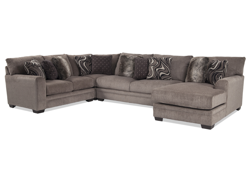 Luxe Pewter 3pc Raf Chaise Sectional
