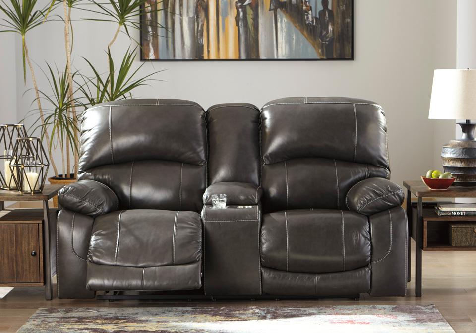 Excellent Hallstrung Gray Power Reclining Loveseat W Console Adjustable Headrest Machost Co Dining Chair Design Ideas Machostcouk