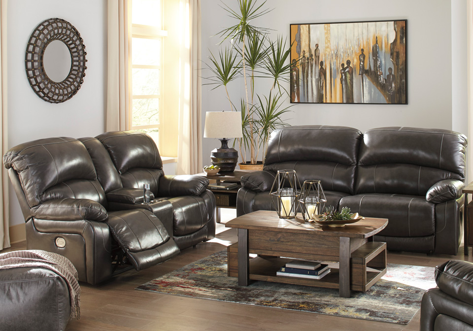 Hallstrung Gray Power Reclining Sofa Set w/ Console & Adjustable Headrest