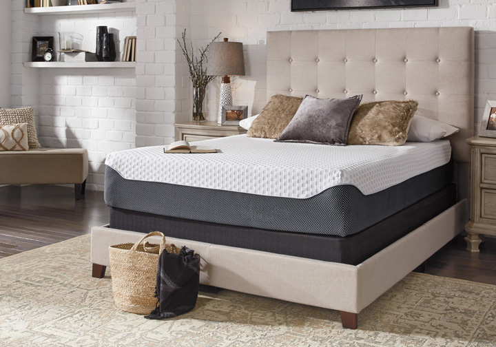 Ashley Sleep 174 Chime Elite 12 Inch Plush Queen Memory Foam Mattress Set Louisville Overstock