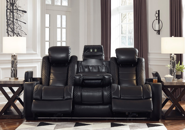 Groovy Party Time Midnight Power Reclining Sofa W Adjustable Headrest Gmtry Best Dining Table And Chair Ideas Images Gmtryco