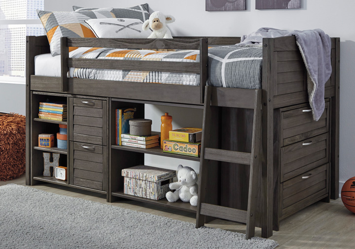 Caitbrook Gray Twin Loft Bed W Storage Chest And Shelves