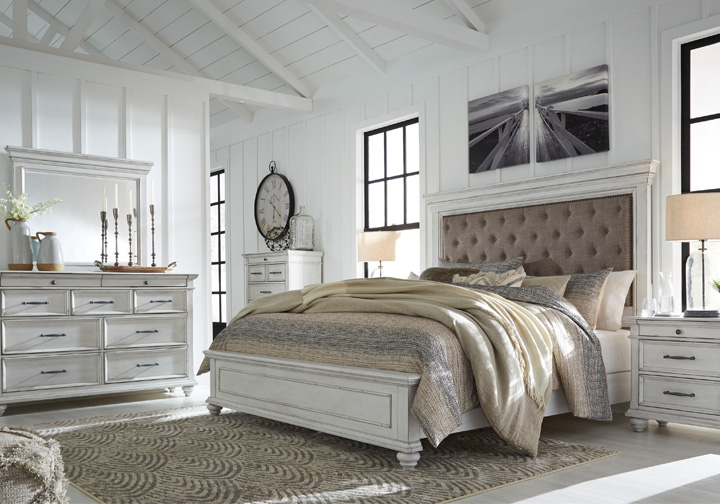 Kanwyn Whitewash Upholstered Queen, Whitewash Bedroom Furniture