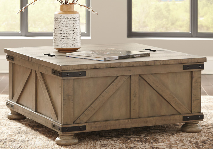 ddb262ac3740fd Aldwin Gray Rectangular Storage Cocktail Table | Louisville ...