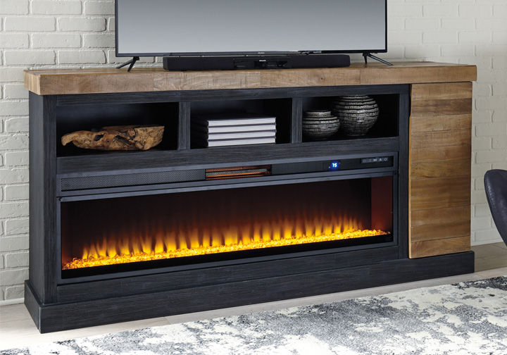 Tonnari Two Tone Brown Extra Large Tv Stand W Fireplace Insert