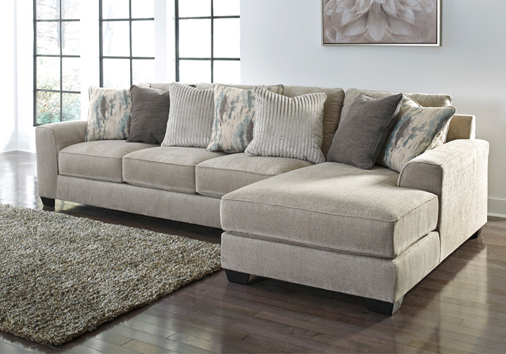 Ardsley Pewter 2Pc RAF Chaise Sectional
