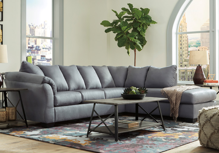 Darcy Steel 2Pc RAF Sleeper Sofa Chaise Sectional | Louisville ...