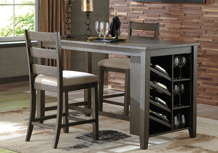 Rokane Brown Rectangular Counter Height Dining Table W Storage Louisville Overstock Warehouse
