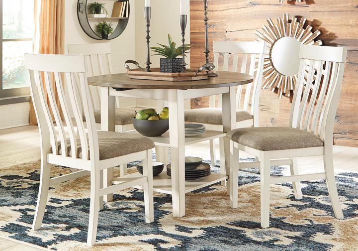 Bardilyn Antique White 5 Pc. Round Drum Drop Leaf Dining Set