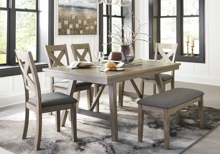 Aldwin Gray 6 Pc Rectangular Dining Set With Upholstered