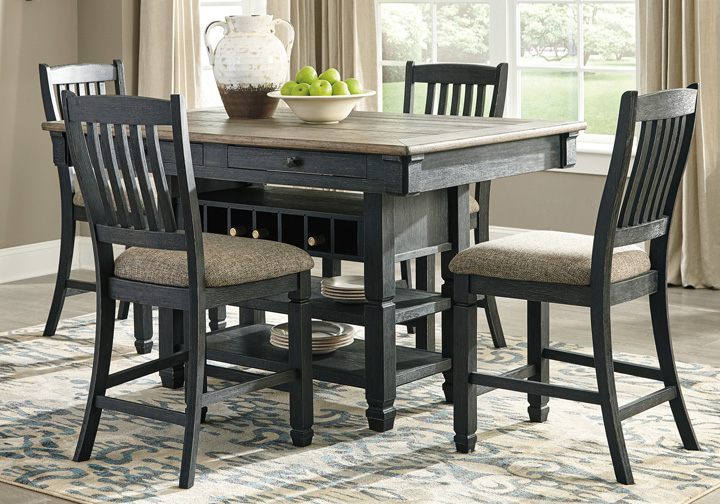 09e7cb53e2 Tyler Creek Two-Tone Black 5 Pc. Counter Height Dining Set ...