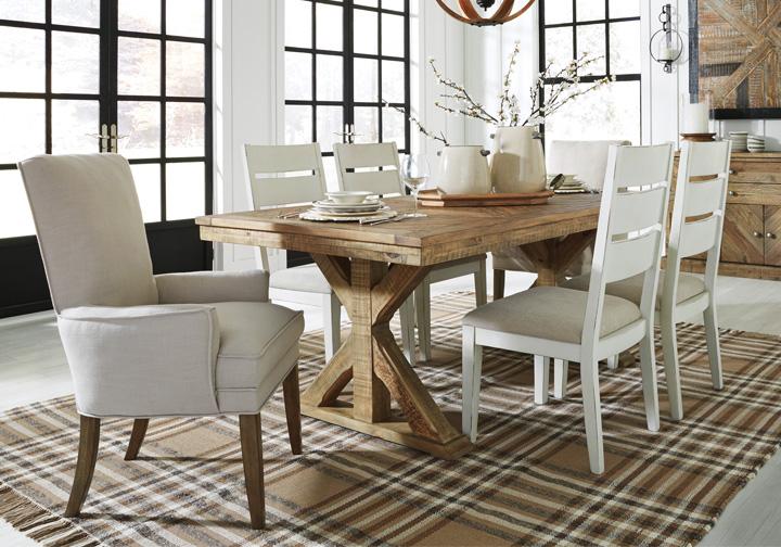 Grindleburg Antique White 7 Pc. Rectangular Upholstered Dining Set