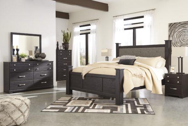 Reylow Dark Brown King Poster Bedroom Set
