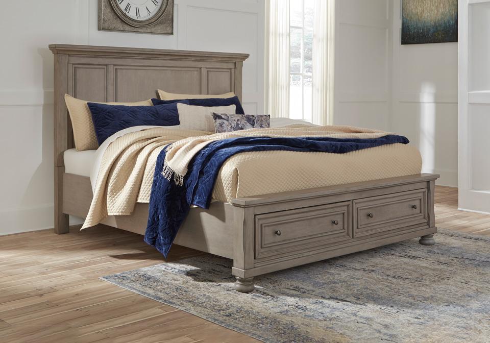 Marvelous Lettner Light Gray King Panel Storage Bed Inzonedesignstudio Interior Chair Design Inzonedesignstudiocom