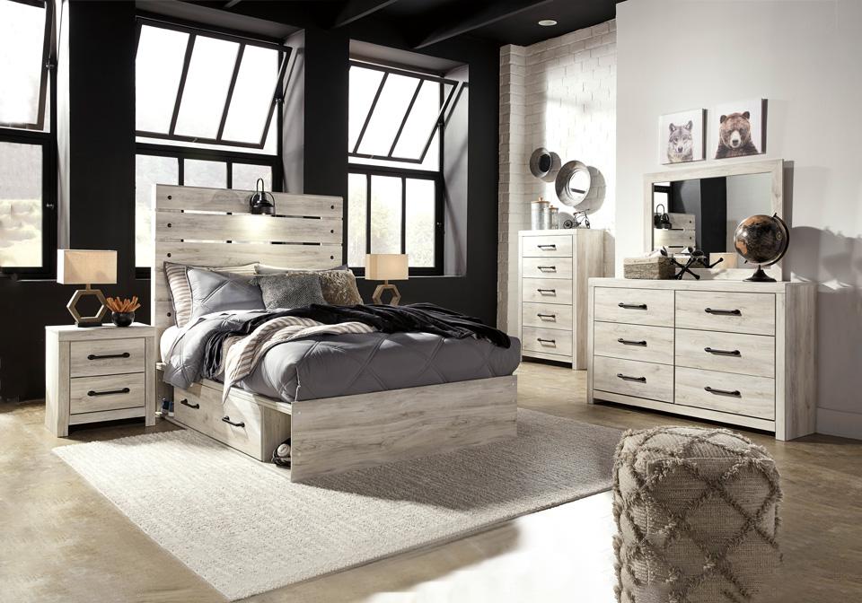 Cambeck Whitewash Full Panel Storage Bedroom Set