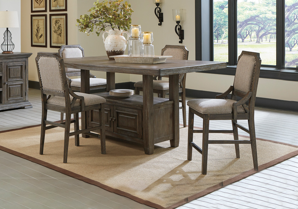 Wyndahl Rustic Brown 5pc Counter Height, Lodge Style Dining Room Furniture
