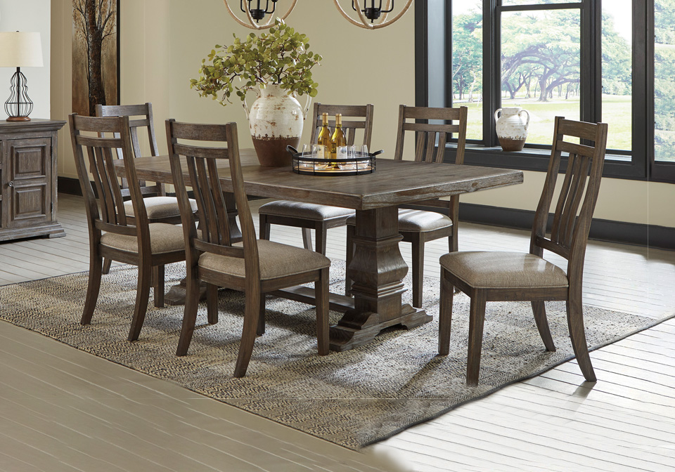 Wyndahl Rustic Brown 7pc Dining Room, Lodge Style Dining Room Furniture