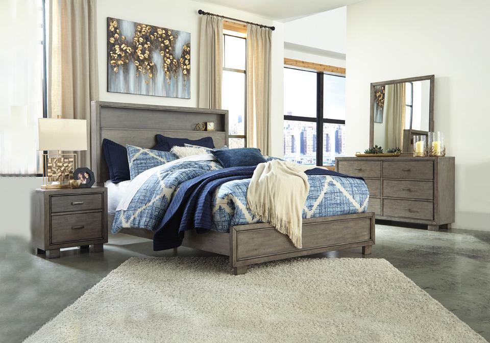 arnett gray queen bookcase bedroom set  louisville