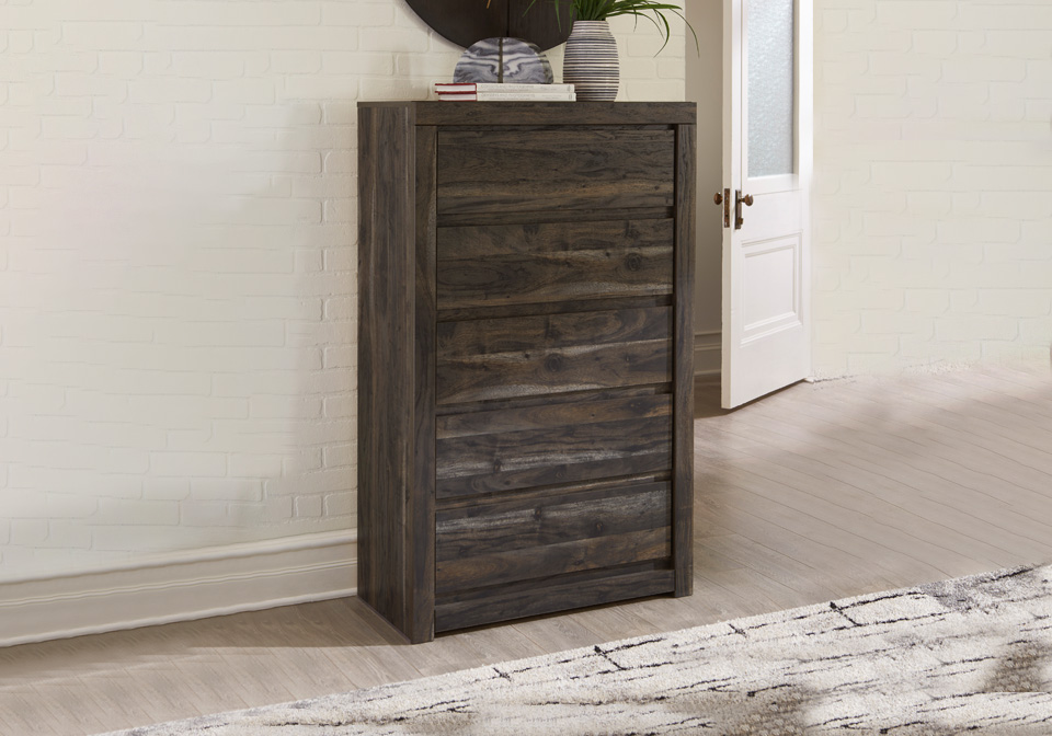 Vay Bay Charcoal Five Drawer Chest Louisville Overstock