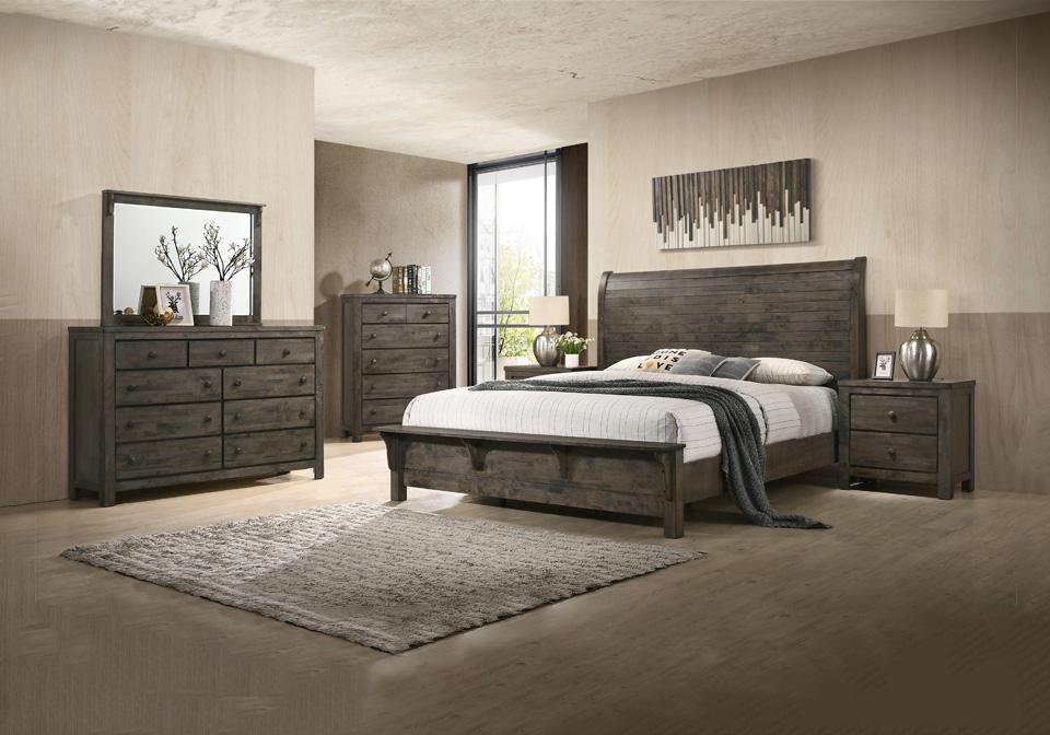 Silva Gray King Sleigh Bedroom Set Louisville Overstock Warehouse