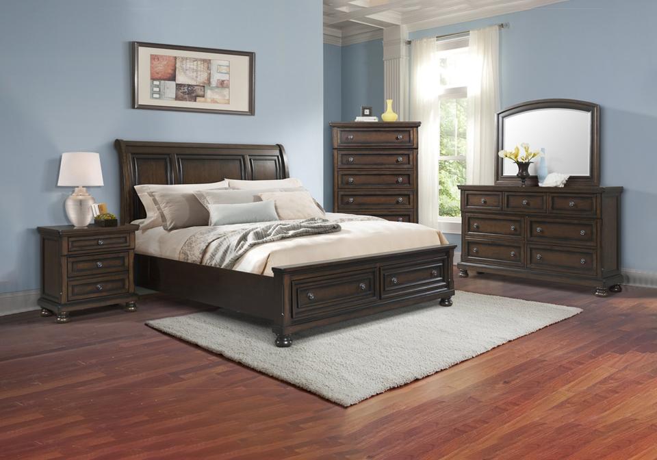 Kingston Walnut Queen Sleigh Storage, Walnut Queen Bed Set
